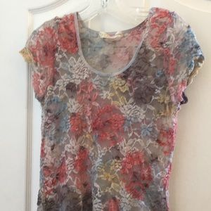 Sheer lacy top from feathers junior 1x